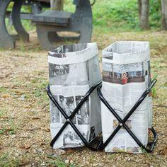 秋の行楽シーズン。キャンプやバーベキューに出かける方も多いのでは? 持ち運びしやすく中身のごみが見えない、新聞紙で作る簡単ごみ箱を紹介します。