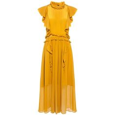 Marissa Webb - Florence Silk Ruffle Midi Dress (4,335 GTQ) ❤ liked on Polyvore featuring dresses, yellow dress, flounce dress, yellow ruffle dress, mid calf dresses and midi dress