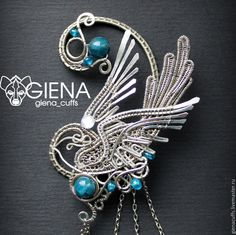 """Купить Кафф """"Синица у ручья"""" - морская волна, синий, птицы, синицы, крылья, полет"""