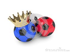 Three 3d rendered football balls with colors of national flag of France
