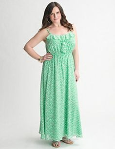 Easy, breezy maxi dress is a gorgeous way to greet sunny days with a charming ruffled bodice and dainty floral print. Fully-lined woven maxi is a feminine style must, with a toe-skimming length and flattering empire silhouette. Adjustable spaghetti straps, elastic waist and V-neck complete the look.