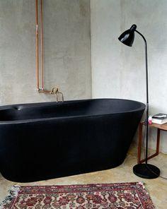 World's Most Beautiful Bathtubs Matte black tub. Bad Inspiration, Decoration Inspiration, Bathroom Inspiration, Decor Ideas, Diy Ideas, Black Bathtub, Black Tub, Bathroom Black, Bathroom Sinks