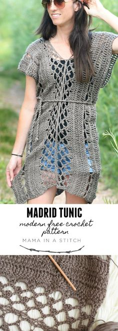 Madrid Tunic Free Crochet Pattern – Mama In A StitchYou can find Crochet tunic and more on our website.Madrid Tunic Free Crochet Pattern – Mama In A Stitch Pull Crochet, Crochet Cover Up, Knit Crochet, Crochet Tops, Crochet Edgings, Crochet Shawl, Crochet Vests, Freeform Crochet, Knitted Shawls
