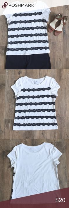Black Lace Striped Top Super cute short sleeved top with black lace across the front. Gently loved; perfect condition. No stains, snags, holes, etc. Looks amazing with black shorts, jeans, skirts!! 57% cotton 38% modal 5% spandex non smoking home Tops