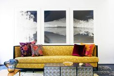 Lively Yellow Sofas Providing Brightness in Interior Look: Wonderful Contemporary Living Room Design With Colorful Pillows Silver Cubic Tabl. Sofa Design, Wall Design, Andree Putman, Living Room New York, Monochromatic Room, Yellow Sofa, Wall Decor, Room Decor, Style Deco