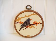 Hey, I found this really awesome Etsy listing at https://www.etsy.com/listing/115350369/embroidered-bird-hoop-art
