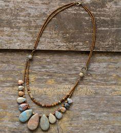 Natural Stone Teardrop Beaded Agate, Jasper Boho Layered Necklace