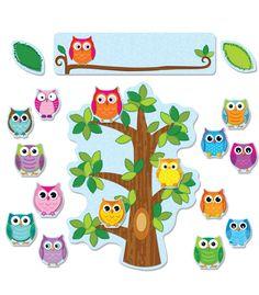 Colorful Owls Behavior Bulletin Board Set   Classroom décor from Carson-Dellosa