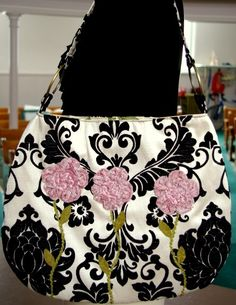 Black velvet damask with Pink roses by justbeonline on Etsy