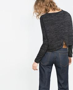 Image 4 of CROPPED FLECKED SWEATER from Zara