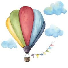 Illustration about Watercolor hot air balloon set. Hand drawn vintage air balloons with flags garlands and retro design. Illustrations isolated on white background. Illustration of clip, paint, retro - 79812456 Watercolor Illustration, Watercolor Art, Air Balloon, Balloons, Balloon Wall, Balloon Painting, Watercolor Paintings For Beginners, Cute Drawings, Painting & Drawing