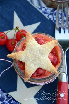 Cherry pie in a jar with stars