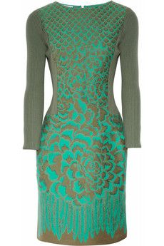 Philosophy di Alberta Ferretti  jaquard and ribbed wool dress in gold  gree #fashion @ Net-a-Porter