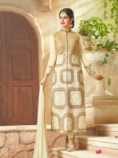 Cream Georgette Churidar Kameez with Dupatta For Party Occasions