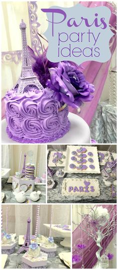 What a gorgeous purple Eiffel Tower garden themed Quincenera! See more party ideas at CatchMyParty.com!