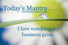 Daily Mantra from The Mind Aware Facebook Page http://www.facebook.com/themindaware - I love watching my business grow. - #directsales, #mantra, #positivethinking, #inspiration