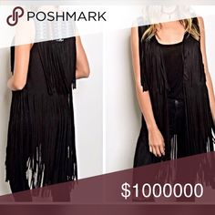 Love this fringe faux suede vest with embroidery! Super on trend with embroidered vest! So cute! Jackets & Coats Vests