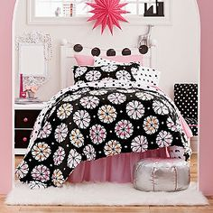 Pinwheel Floral and Dot Percale Reversible Comforter  This would be cute in Cheyenne's room==the rust color might be a good match for the bath across the hall