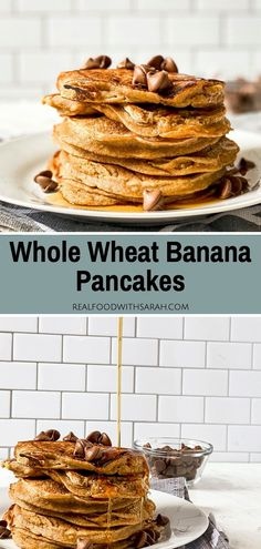 These Banana Pancakes are super fluffy, made with whole wheat flour, and are sweetened naturally with bananas and maple syrup. Top them with more maple syrup, peanut butter, chocolate chips or your favorite fruit and enjoy the perfect breakfast! #healthypancakes #breakfastrecipes Pancakes On A Stick, Pancakes And Waffles, Banana Pancakes, Banana Chocolate Chip Muffins, Chocolate Chips, Drink Recipes, Real Food Recipes, Brunch Dishes, Chicken And Waffles