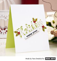 Hero Arts Cardmaking Idea: Enjoy Your Holidays One Layer Card Tutorial