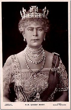 Queen Mary, Queen Elizabeth's grandmother, wearing strands of diamonds she got from her mother in law.