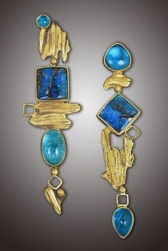 """Neon Dusters"" ""Neon Dusters"" Earrings ­ 14, 18 & 22K gold with neon apatite and boulder opals. This one's an award winner!"