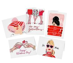 Note: All items in the shop are made-to-order. Some items may ship separately, and all items have a processing time of 3-5 business days! :)  Perfect for Valentines day, this assorted set comes with 5 unique Valentines greeting cards, each with a standard white envelope.  Dimensions: 4l x 5.6w (portrait) or 5.6l x 4w (landscape) Printed on 110 lb, 12.5 point thick, semi-gloss paper Matte blush pink finish inside for smudge-free writing Standard white envelope included