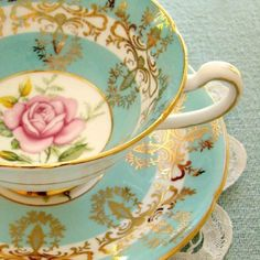 china tea cup... teal blue