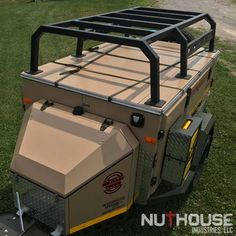 Conqueror Trailer with NutHouse Industries Rack Truck Bed Trailer, Bug Out Trailer, Camping Trailer Diy, Kayak Trailer, Off Road Camper Trailer, Trailer Build, Truck Camping, Work Trailer, Atv Trailers