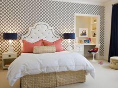 bedroom. busy wall with plain but bright pops of color. like the idea of turning an old closet into a desk area.