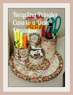 Šiť ľstivý anjel: Recyklácia Pringles plechovky k stolu Organizátor