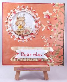"Shaker Card using ""Jillian and Friends"" Whimsy Stamps; ""Woodland Border"" Wild Rose Studio; Spellbinders ""Royal Circle"";  Shaker Die Tonic Studio;  Designerpaper ""Harvest Meadow"" Wild Rose Studio; Sentiment Marianne Design; colored with TwinklingsH2O"