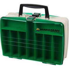 Wakeman Fishing 2-Sided Tackle Box, 12 inch x 9 inch x 4 inch, Beige