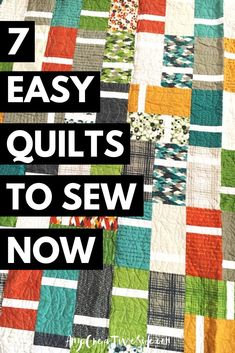 Easy Quilt Patterns for Modern Quilts. Seven easy modern quilt designs easy enough for a beginner to sew. Beginner Quilt Patterns, Quilting For Beginners, Quilting Patterns, Quilting Tutorials, Quilting Ideas, Easy Quilts, Mini Quilts, Handmade Quilts For Sale, Triangle Quilt Pattern