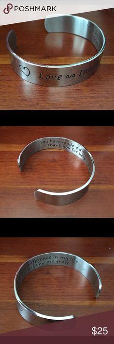 I.RIYA Jewelry Metal Cuff Bracelet Love-Inspire-Teach cuff bracelet, inside says (You made a difference in my life, thank you for helping me grow. O. Riya Jewelry Bracelets