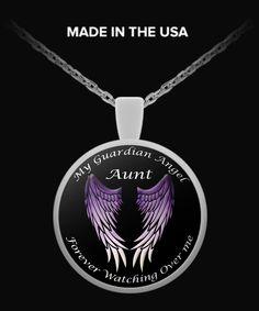 Aunt Guardian Angel Round Pendant - Purple
