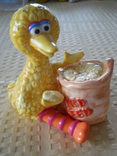 Big Bird and Bird Seed Salt and Pepper Shakers  by DEWshophere, $26.99