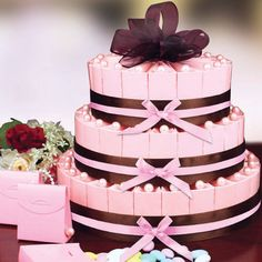 Custom Favor Cake Kit can be purchased assembled (specify number of tiers)and includes almonds. Can be personalized and has many color options.