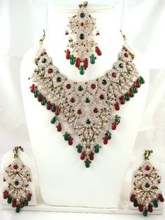 Designer India Necklace Earrings Red Green White Stone Studded Indian Fashion Jewelry Set Mogul Interior, http://www.amazon.com/gp/product/B0092MQIQM/ref=cm_sw_r_pi_alp_Q38oqb0YAD1TT