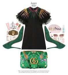 Lë happy hour by imaniasaboor on Polyvore featuring polyvore, fashion, style, Gucci, Christian Louboutin, Kate Spade, ban.do, Tory Burch, Various Projects, Stila, SK-II, Flynn&King, Pixi, Bobbi Brown Cosmetics, Lancôme, Giorgio Armani, Disaster Designs, ncLA and clothing