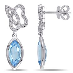 Marquise Blue Topaz & Round Diamond Earrings White Gold Allurez offers the finest selection of Diamonds and fine jewelry. Peridot Earrings, Gemstone Earrings, Diamond Earrings, Drop Earrings, 14k White Gold Earrings, Topaz Gemstone, Blue Topaz, Round Diamonds, Jewelry Accessories