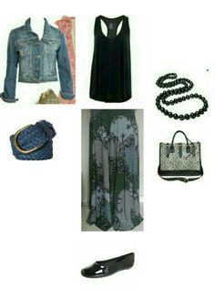 Saia longa, jaqueta jeans, colar preto, sapatilha preta regata preta, bolsa onça