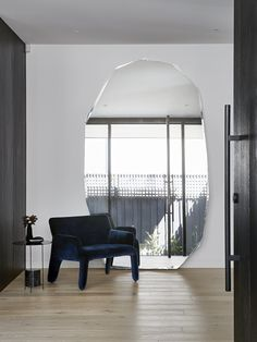 CBA Residence by Studio Griffiths Cosy Sofa, Dark Furniture, Floor Mirror, Mirror Mirror, Indoor Outdoor Living, Soft Furnishings, White Walls, Side Chairs, Home Remodeling