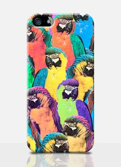 TROPICAL parrot colorful collage mobile phone case. Available on: iPhone 4, iPhone 5, Samsung s3, Samsung s4. by TheSmallPrintCases, £10.99