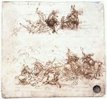 Page from a notebook showing figures fighting on horseback and on foot - Leonardo da Vinci