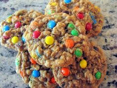 Chewy Oatmeal M Cookies- these are perfect, I used butterscotch and chocolate…
