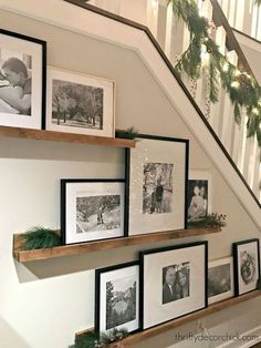 Picture frames displayed on a ledge! Great way to display photos and artwork! Great shelf styling idea, how to create a gallery wall, gallery wall ledge, floating shelves. 51 Unusual Picture Frame Wall Decorating Ideas On A Budget Creative Wall Decor, Creative Walls, Picture Shelves, Picture On Wood, Picture Ledge, Shelves For Pictures, Picture Frames On Wall, Stairwell Pictures, Picture Frame Display