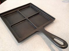 Four section hand griddle made by Otter River Foundry located in Otter River Mass. Cast Iron Griddle, Cast Iron Pot, Cast Iron Skillet, Cast Iron Cooking, Cast Iron Cookware, It Cast, Dutch Ovens, Dutch Oven Cooking, Iron Storage
