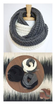 CROCHET INFINITY SCARF, Two Toned, Knit Eternity Scarf, Chunky Ribbed Scarf, Double Wrap Scarf, Winter - Charcoal Gray and Cream  https://www.etsy.com/listing/206906197/crochet-infinity-scarf-two-toned-knit?ref=shop_home_feat_4