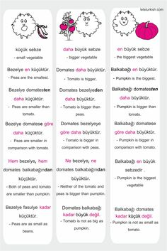 Comparison words in Turkish